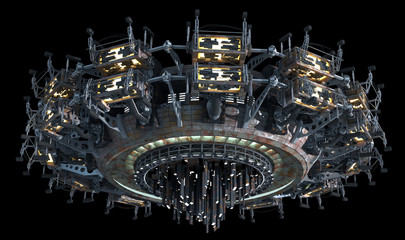 Fantasy 3D model of futuristic space ship