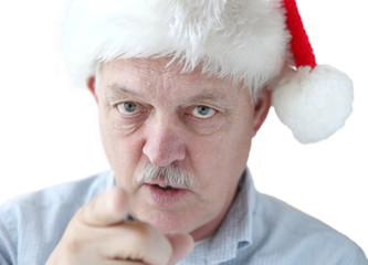 man in Santa hat is watching you