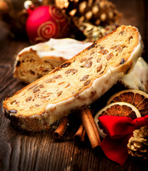 Christmas Stollen. Traditional Sweet Fruit Loaf