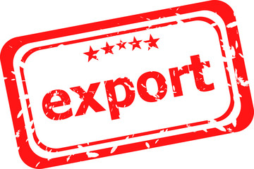 export on red rubber stamp over a white background
