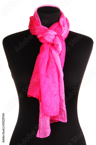 Mannequin wearing scarf isolated on white