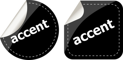 black accent stickers set on white, icon button