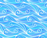 Blue vector curly waves seamless pattern