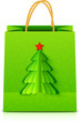 Green Christmas vector paper bag with fir tree