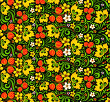 Colorful seamless pattern in hohloma style