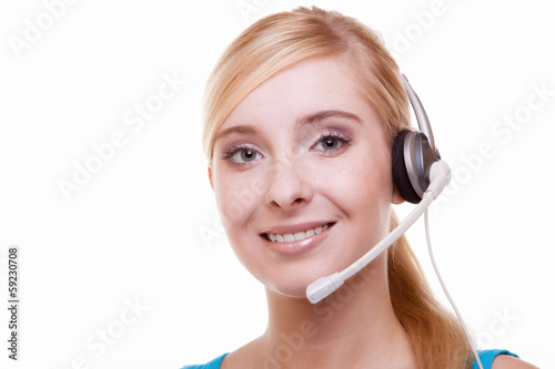 Girl with headphones and microphone headset on white