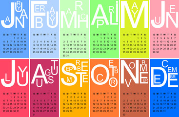 Colorful jazzy 2014 calendar, vector
