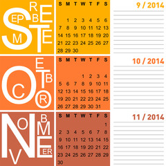 jazzy seasonal calendar autumn 2014, vector