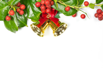 Holly Christmas decoration on white background