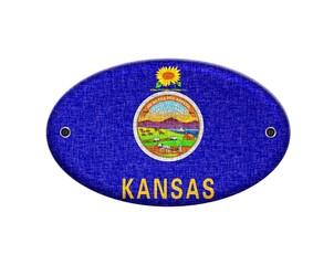 Wooden sign of Kansas.