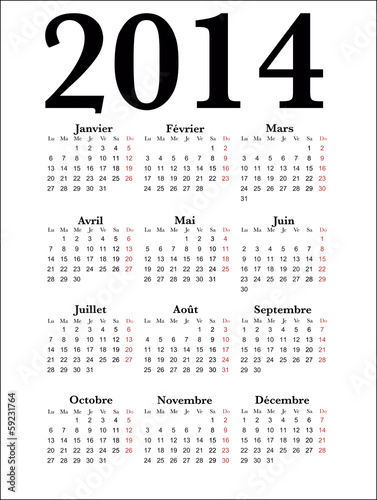 French Calendar 2014, vector