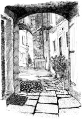 Indian ink and nib pen on paper. Old & narrow european street
