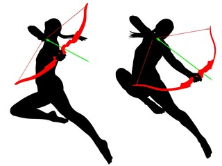 Jumping archer female silhouette