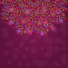 Colorful Half Mandala Decoration with Hearts