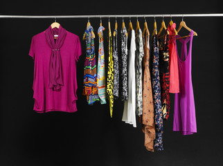 Set of Female Variety of sundress clothes hanging