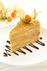 A piece of honey cake. Selective focus.