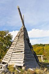 Shepherd's hut on mount Bobija, like a tent but made of wood