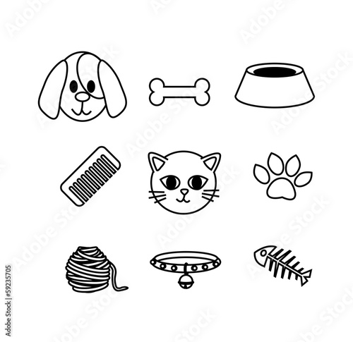set of cat and dog icon concept pet lover