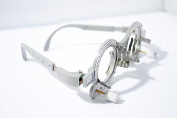 Closeup of eye test glasses