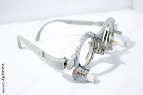 Closeup of eye test glasses