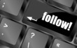 Social media network concept: Keyboard with follow button