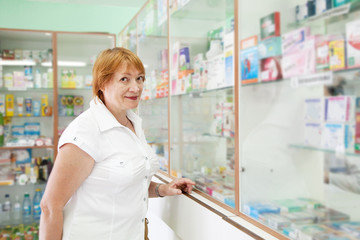 woman chooses at the pharmacy