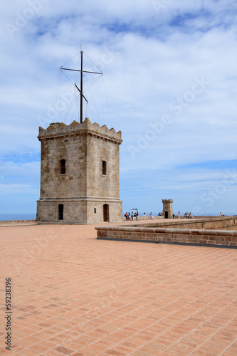 Big tower of Castle of Montjuic, Barcelona, Spain