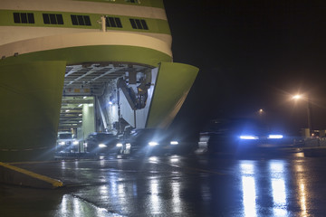 Unloading cars from a ship