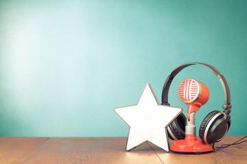 Retro red microphone, headphones and winner star blank