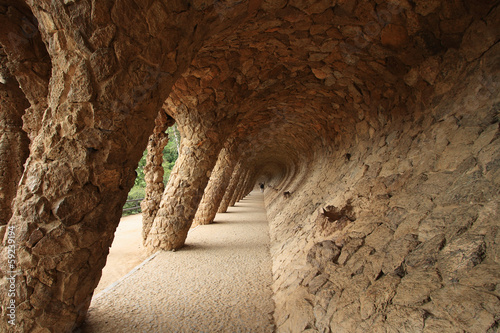 Stone carved colonnade in Gaudi's Parc Guell