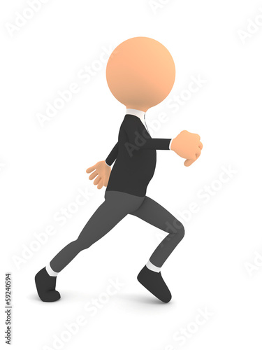 Runing man over white. 3d render