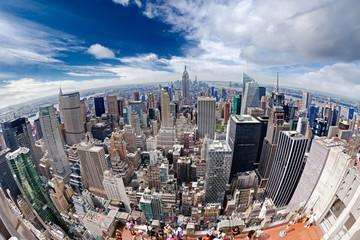 An aerial view over Manhattan New York city