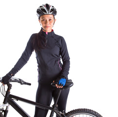 Asian Malay female with mountain bike over white background
