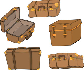 The complete set of old suitcases