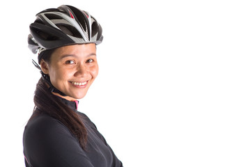 Asian Malay female with cycling attire over white background