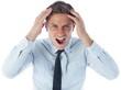 Stressed businessman shouting