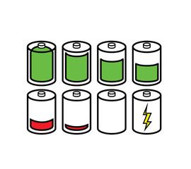 Set of Battery Indicator Icons