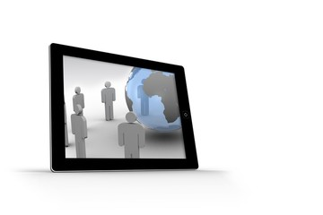 Figures and earth on tablet screen