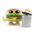 Burger throws some rubbish away