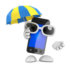 Smartphone under an umbrella