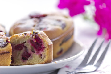 Cherry cake close up