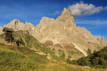 Wooden sign board in the mountains,Cimon Della Pala,Dolomiti,Ita