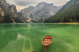 Braies Lake in Dolomiti mountains on a cloudy day,Trentino Alto