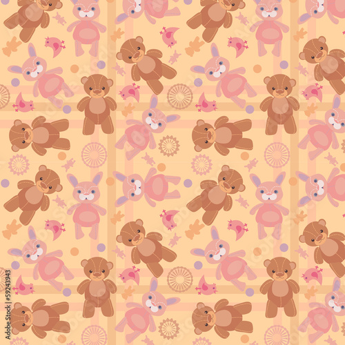 vector illustration pattern bears and hares