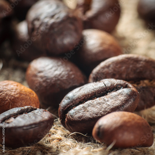 Coffee on grunge burlap background - 59243961