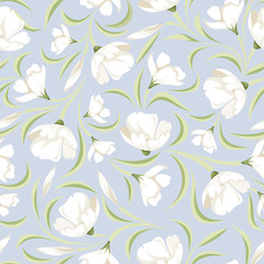 Seamless pattern with white flowers on blue. Vector illustration