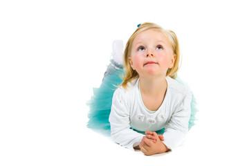 Cute preschool girl isolated on white