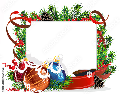 Christmas tree decorations with red ribbons