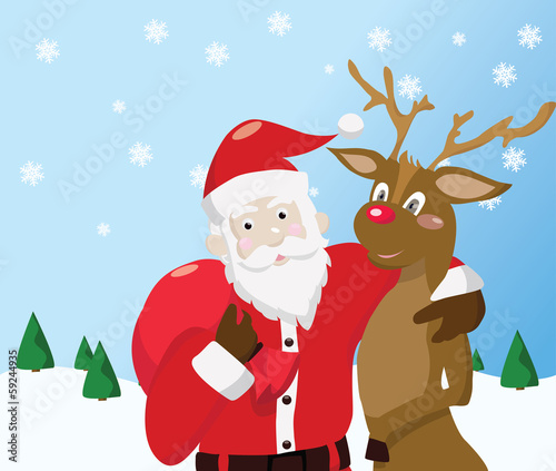 Santa Claus and reindeer on winter background.