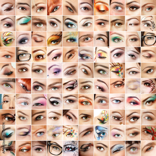 Eyes 100 set. Collage of beautiful female eyes with makeup. Isol